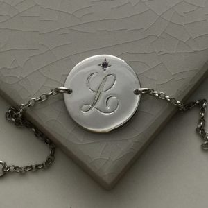 February Birthstone Initial Bracelet in Sterling Silver