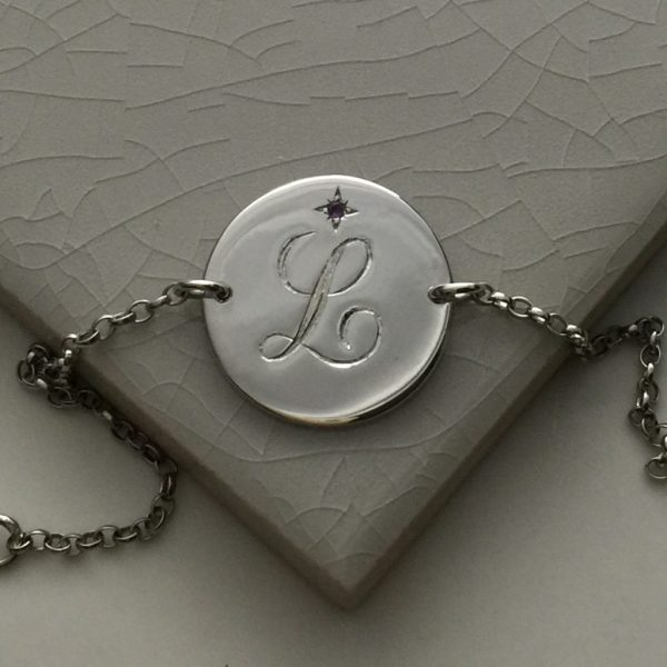 February Birthstone Initial Bracelet in Sterling Silver