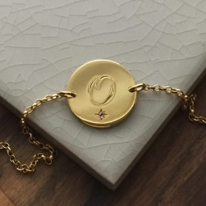 February Birthstone Initial Bracelet in Yellow Gold Vermeil