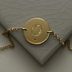 November Birthstone Initial Bracelet in Yellow Gold Vermeil