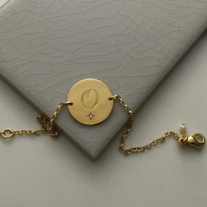 April Birthstone Initial Bracelet in Yellow Gold Vermeil