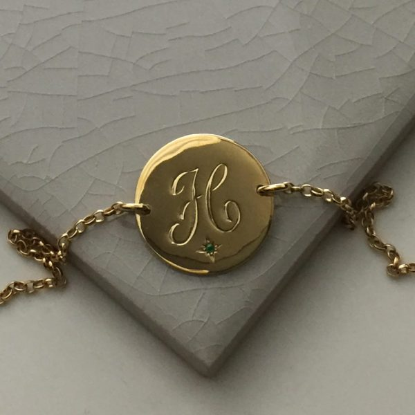 May Birthstone Initial Bracelet in Yellow Gold Vermeil