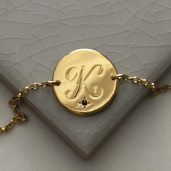 January Birthstone Initial Bracelet in Yellow Gold Vermeil