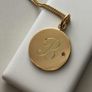 February Birthstone Initial Necklace in Gold Vermeil