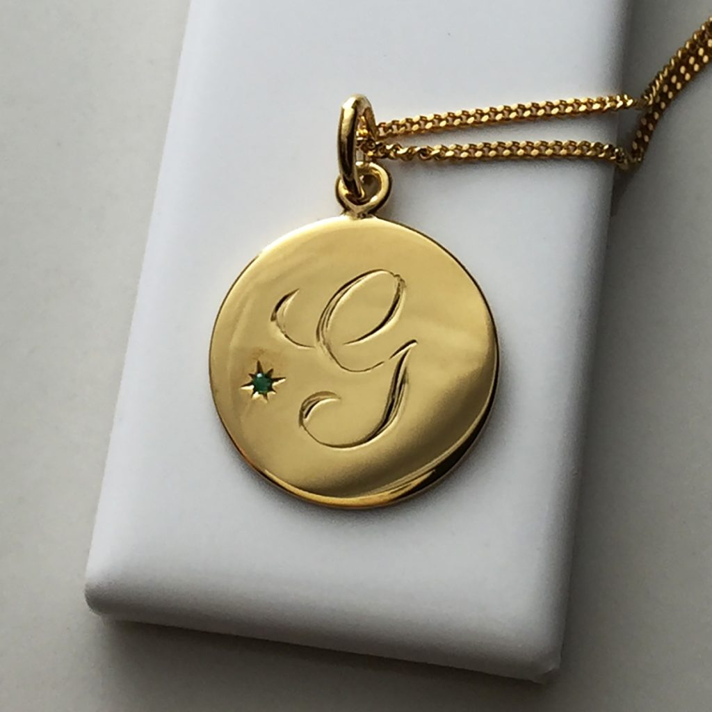 May Emerald Initial Necklace in Yellow Gold