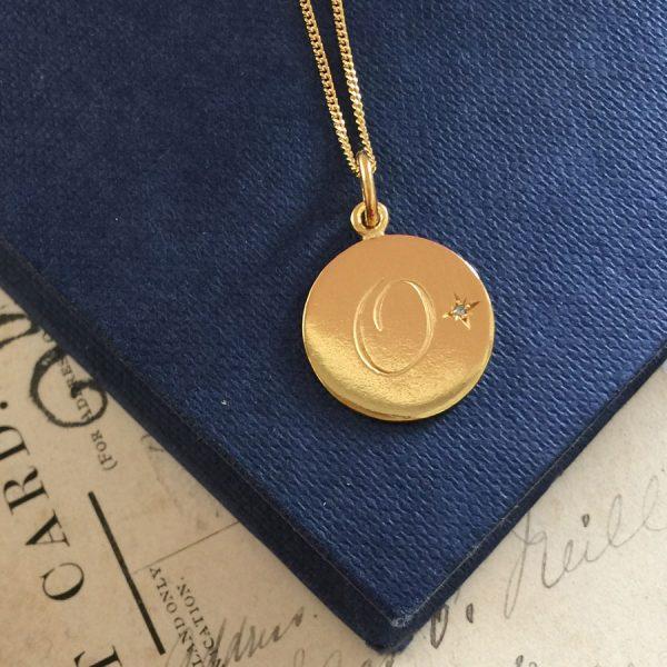 Aquamarine Initial Gold Vermeil Necklace