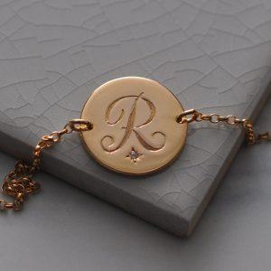 Peridot Initial Bracelet in Rose Gold Vermeil