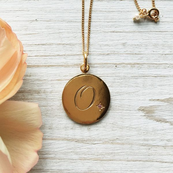 O Birthstone Initial in Yellow Gold