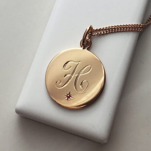 Ruby Initial Necklace in Rose Gold Vermeil