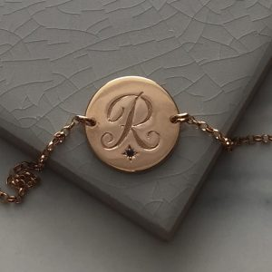 Sapphire Initial Bracelet in Rose Gold Vermeil