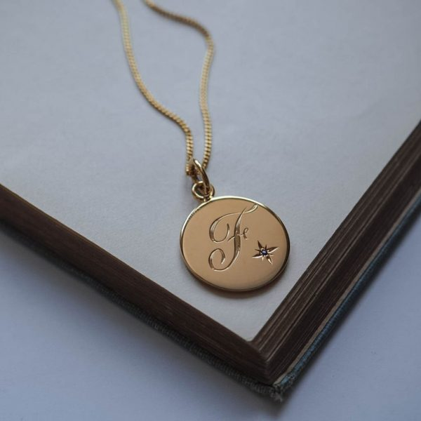 Sapphire Initial Necklace in Gold Vermeil by Bianca Jones