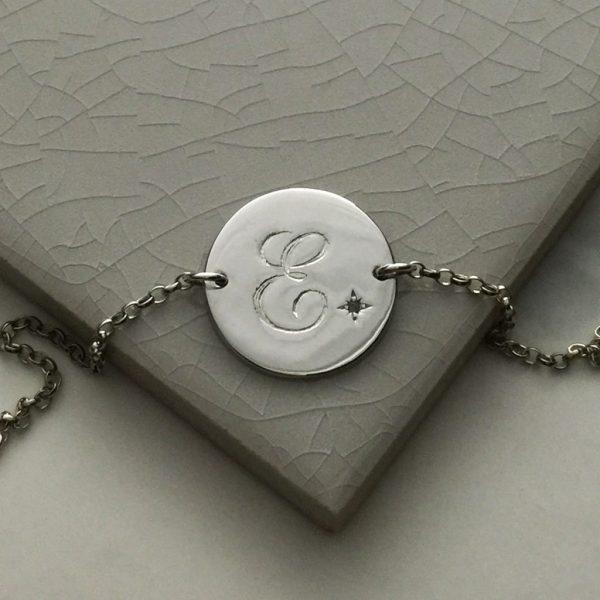 Alexandrite Initial Bracelet in Sterling Silver
