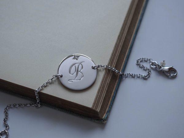 April Diamond Initial Bracelet
