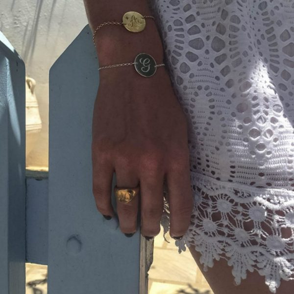 Aquamarine Initial Bracelet by Bianca Jones