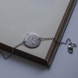 Pink Tourmaline Initial Bracelet in Sterling Silver