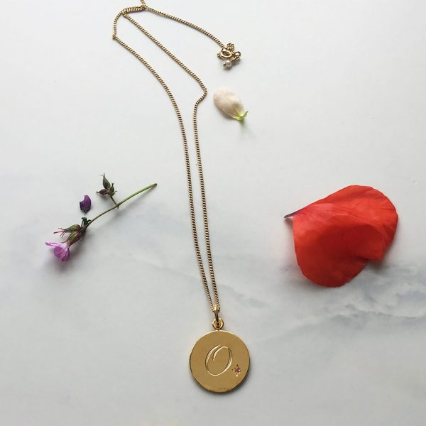 Pink Tourmaline Initial Necklace in Yellow Gold Vermeil