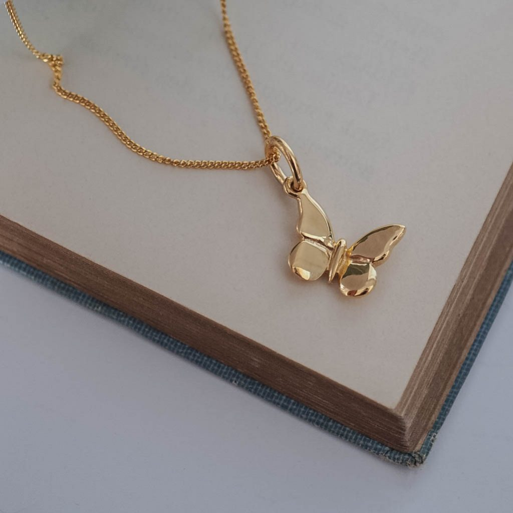 bdbe16aa1476b Butterfly Necklace in Silver or Gold Vermeil