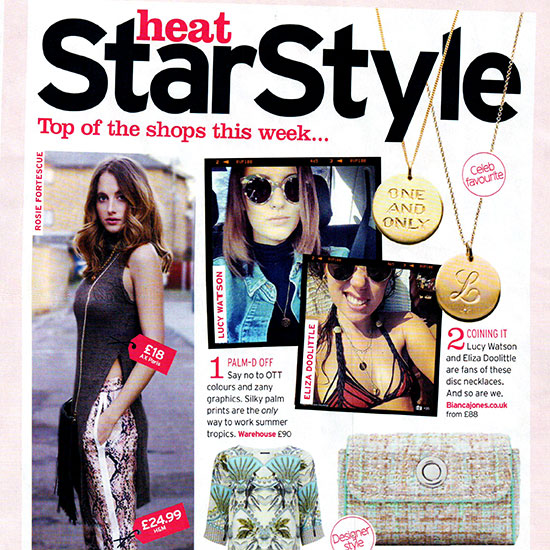 Heat Magazine features Lucy Watson and Eliza Doolittle wearing Bianca Jones