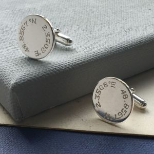 Engraved Latitude Disc Cufflinks