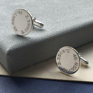 Engraved Latitude Disc Cufflinks
