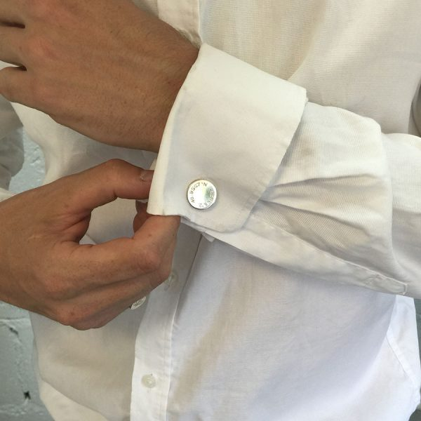 Engraved Latitude Cufflinks on Model