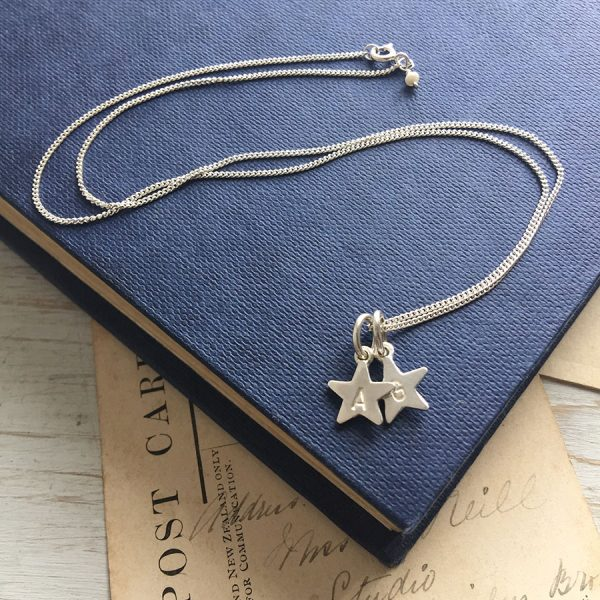 Letter Star Duet Necklace in Sterling Silver
