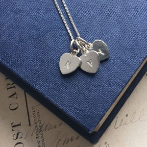 Letter Heart Alphabet Trio Necklace in Sterling Silver