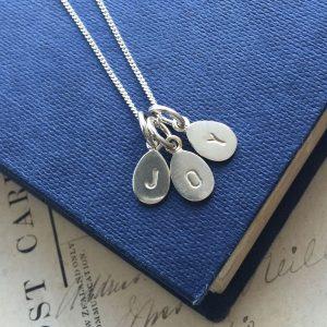 Letter Teardrop Trio Necklace