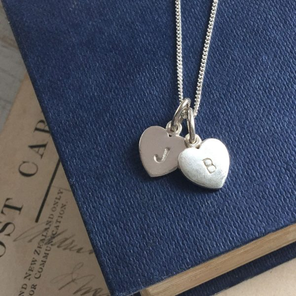 Letter Heart Alphabet Duo Necklace in Sterling Silver