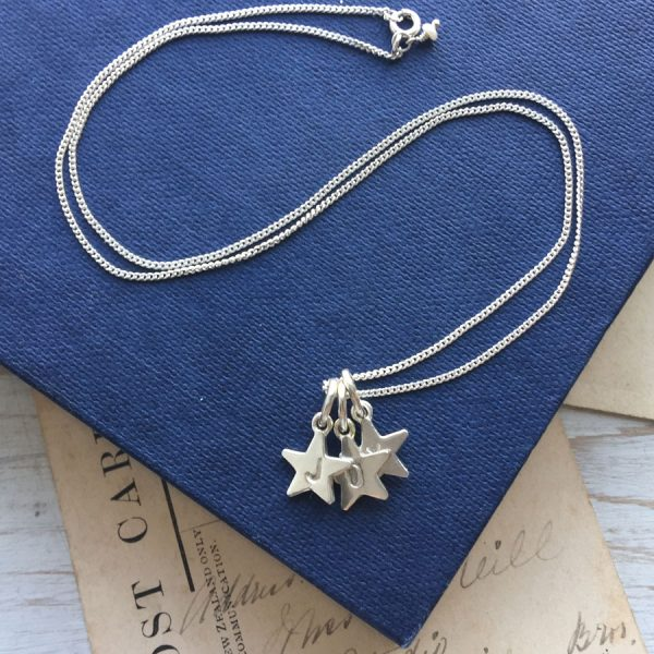 Letter Star Trio Necklace in Sterling Silver