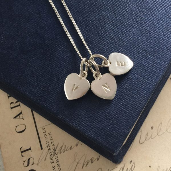 Letter Heart Trio Necklace in Sterling Silver