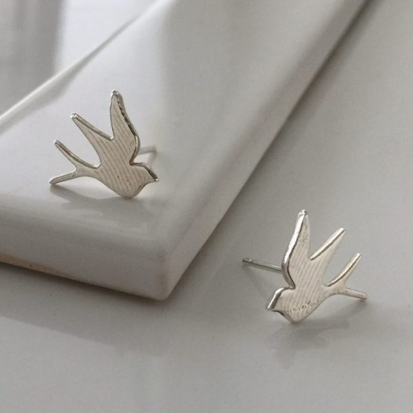 Swallow Stud Earrings in Sterling Silver