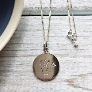 Personalised Topaz Initial Necklace Monogram engraved Letter