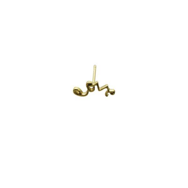 'Love' Stud Earring in Gold