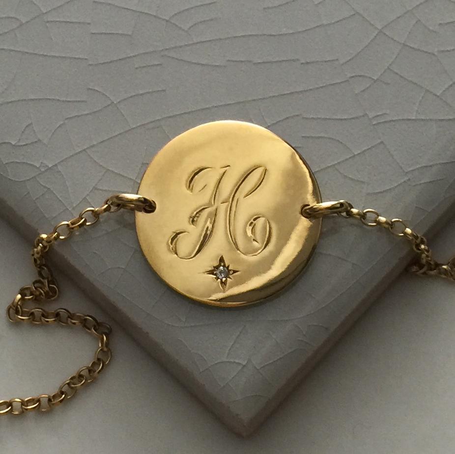 Diamond Initial Bracelet in Yellow Gold Vermeil