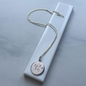 C Diamond Initial in Sterling Silver