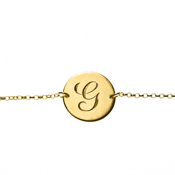 Initial Bracelet in Yellow Gold