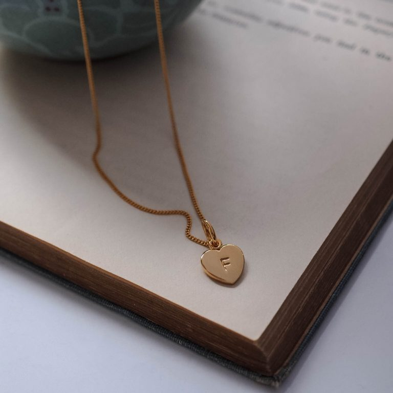 Letter Love Heart Necklace Gold Vermeil