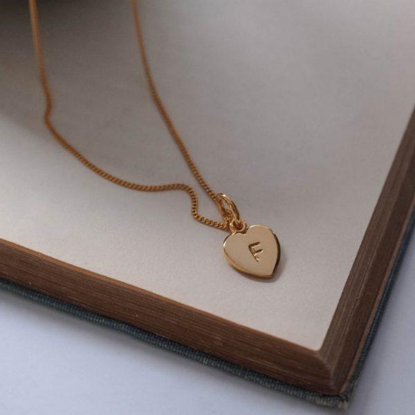 Letter Love Heart Necklace Gold Vermeil
