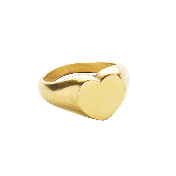 Heart Signet Ring in Yellow Gold