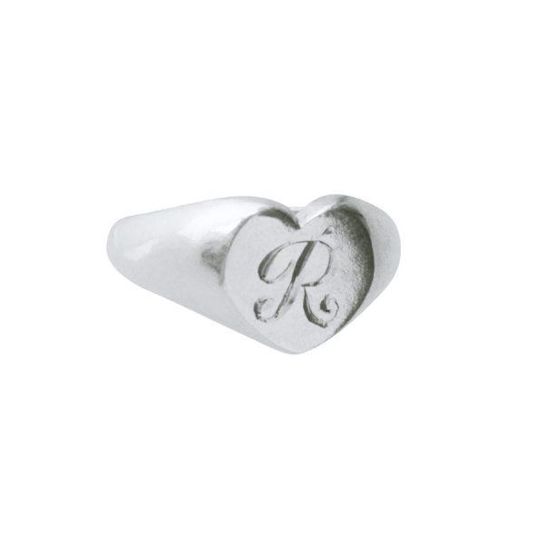 Engraved Heart Signet Ring