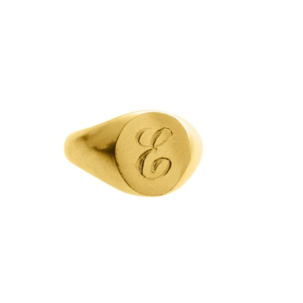 Engraved Initial Signet Ring in Gold Vermeil