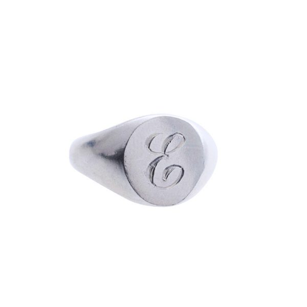 Oval Signet with Initial in Sterling Silver