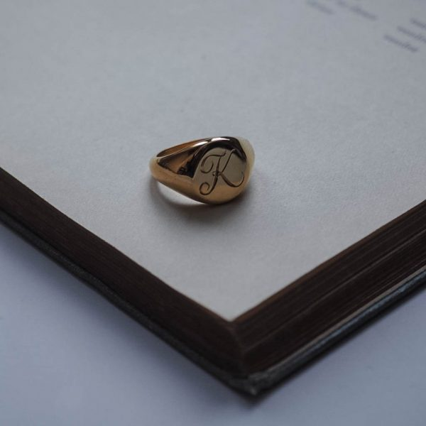 Signet Oval Initial Ring in Gold Vermeil