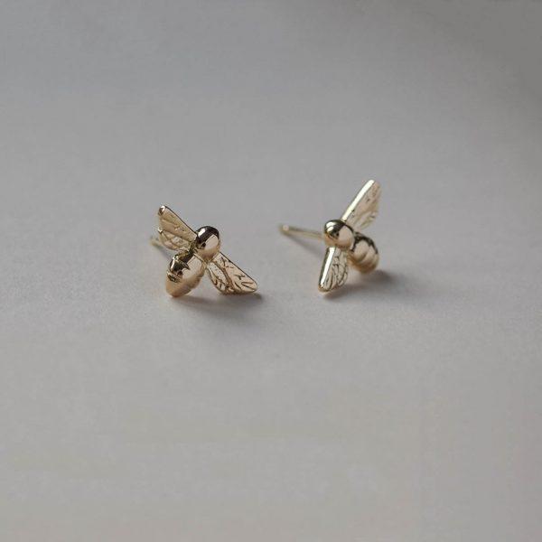 Bumble Bee earrings in Yellow Gold