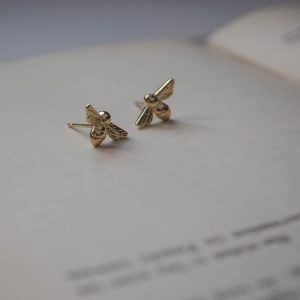 Bumble Bee earrings in Yellow Gold by Bianca Jones Jewellery