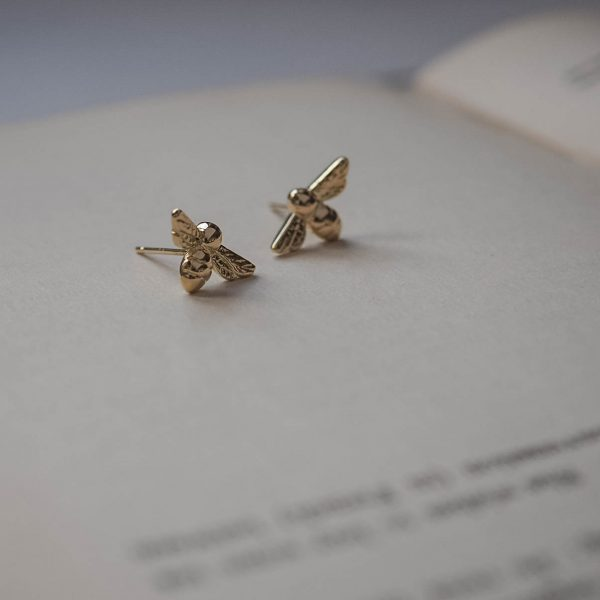 Bumble Bee earrings in Yellow Gold by Bianca Jones Jewellery