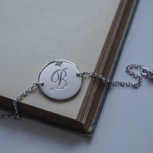 Diamond Initial Bracelet in Sterling Silver