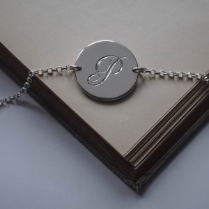 initial bracelet in silver by bianca jones