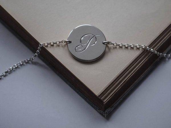 initial bracelet in silver by bianca jones